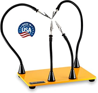 """QuadHands Workbench Helping Hands Soldering Third Hand Vise   4 Magnetic Based Flexible Metal Arms Can Be Mounted Anywhere on The 6"""" x 9"""" Solid Steel Base   Designed and Made in The USA"""