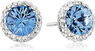 Sterling Silver Swarovski Crystal Halo Stud Earrings