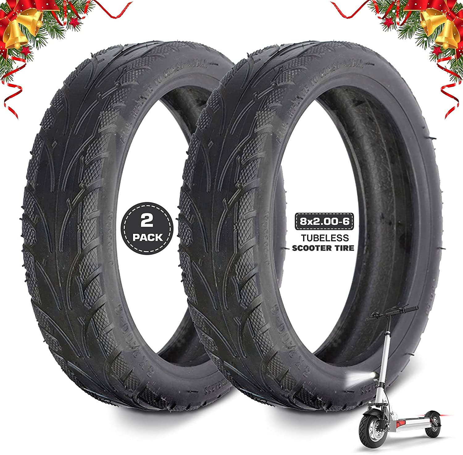 LVMMO 8x2.00-6 Scooter Max 86% OFF Tubeless Tire Outer 8 Inch Thickened Sale item Tir