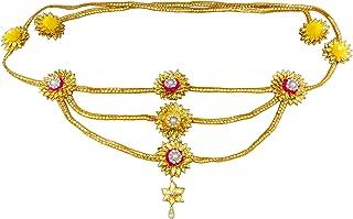 Blent#63 Mango Yellow Pink Gota Patti Flower Jewellery Kamarband/Waistband/Belly Chain for Women/Kids/Girls/Bride/Bridal/W...
