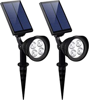 KOMAES Solar Spotlights Outdoor, Waterproof Solar Security Landscape Lights, Adjustable Solar Garden Light with Auto On/Off for Yard Driveway Pathway Pool Patior Garden, Walkways (2 Packs)