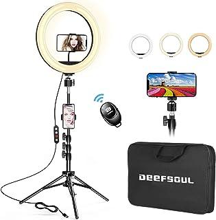 """Aro de Luz 10.2"""" con Tripode, DEEFSOUL Anillo de luz para movil, con 2 Soportes para teléfono móvil y Bolsas de Almacenami..."""