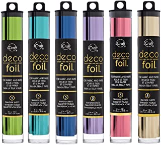 Deco Foil - Transfer Sheets - Champagne, Spring Green, Aqua, Deep Blue, Lilac & Pink Melon - Bundle of 6 Packages