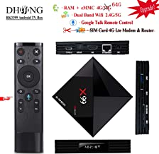 DHong X99 Android TV Box Google Voice Remote Control, 2018 Network Set-top Box Android 7.1 RK3399 6-Core 64-Bit Media Streaming Player, HDMI & TypeC Dual Display HDR 3D Devices 2.4G/5G WiFi [4G+64G]