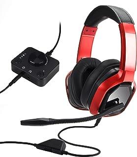 Amazon Basics - Cuffie di alta qualità per video giochi, per PC e console (Xbox, PS4) con mixer da tavolo, rosso
