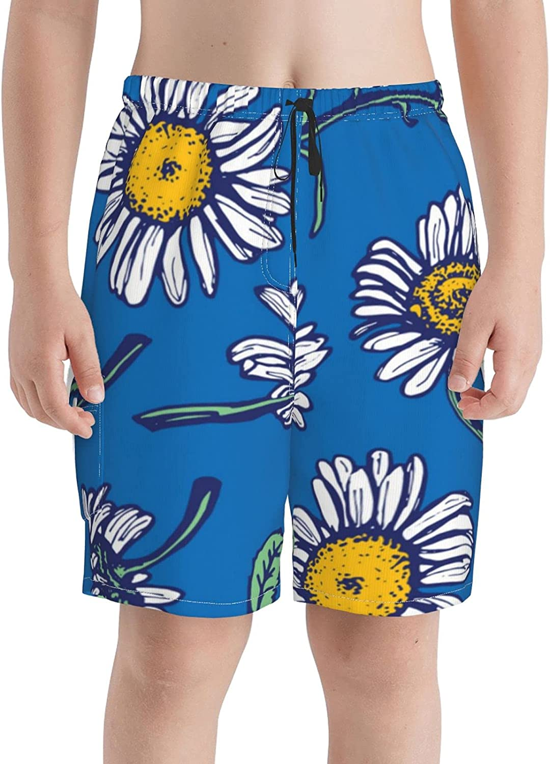 HJBJKBKSDA White Daisies Blue Background Boys Teens Swim Trunks Quick Dry Surfing Board Shorts with Mesh Lining