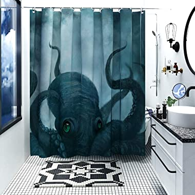 DESIHOM Octopus Shower Curtain, Nautical Shower Curtain Kraken Shower Curtain Ocean Shower Curtain Cool Kids Anime Shower Curtain Deep Sea Tentacle Polyester Waterproof Shower Curtain 72x72 Inch