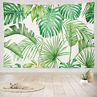 ASOCO Tapestry Wall Hanging Green Leaf Tropical Leaves Monster a Strelitzia Palms Watercolor Wall Tapestry for Bedroom Living Room Dorm 60X80 Inches