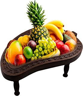 Arts of Creation Mango Shaped Wooden Fruit Basket Stand for Display Storage Collapsible Tabletop Kitchen Accessory
