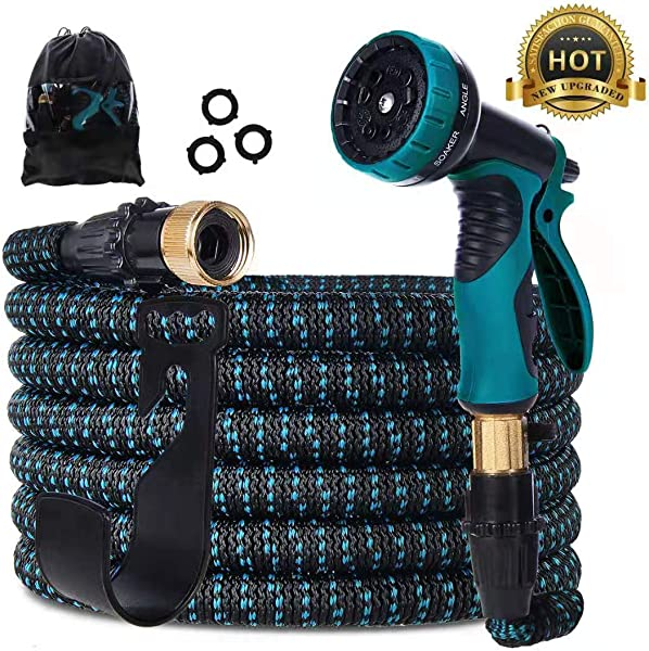 Gardguard 50ft Expandable Garden Hose Water Hose With 9 Function Spray Nozzle And Durable 3 Layers Latex Flexible Water Hose With Solid Brass Fittings Best Choice For Watering And Washing