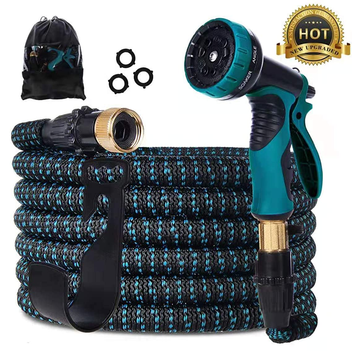 Gardguard 50ft Expandable Garden Hose: Water Hose with 9 Function Spray Nozzle and Durable 3-Layers Latex, Flexible Water Hose with Solid Brass Fittings, Best Choice for Watering and Washing