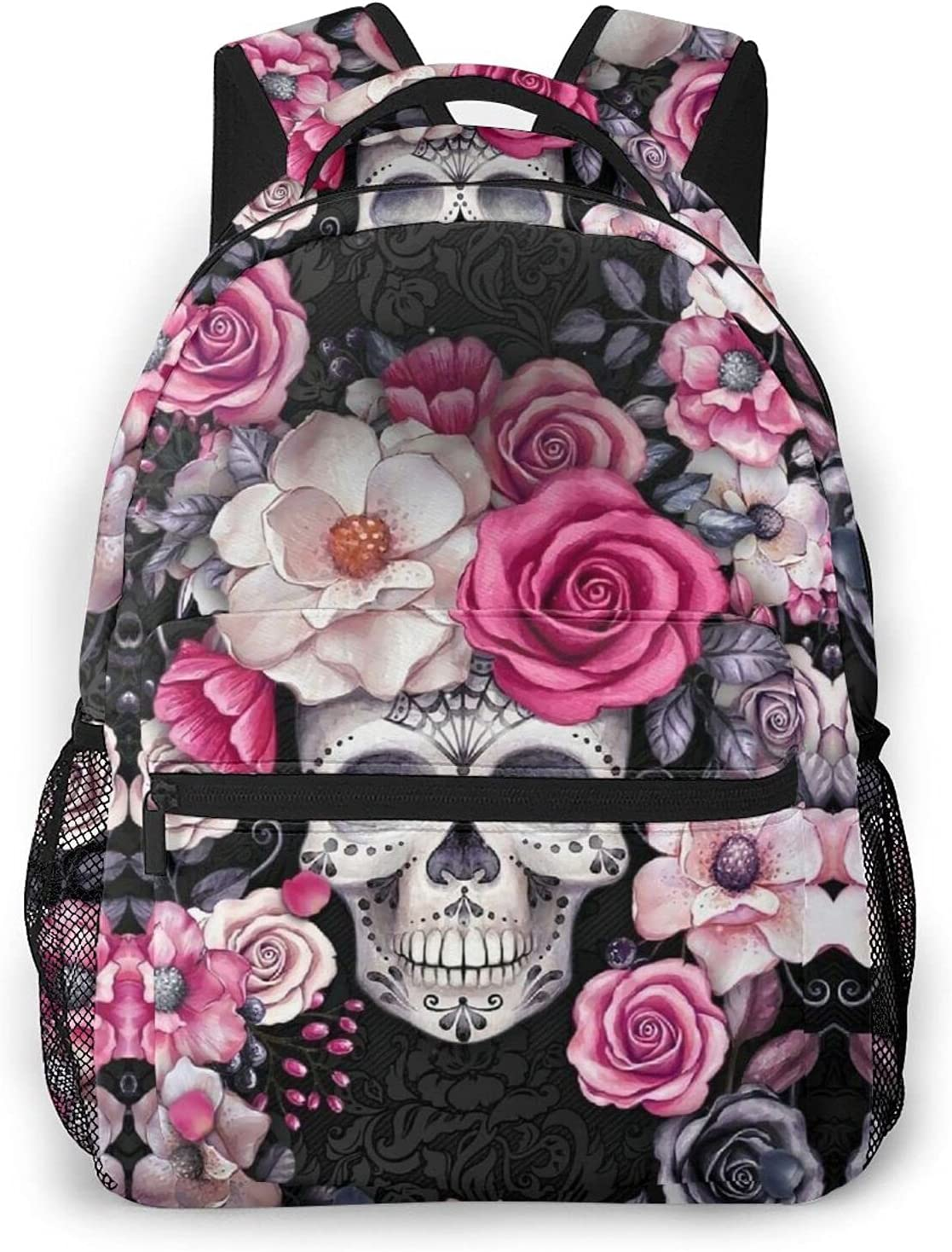 Floral Skull And Rose Quality inspection Backpack Sh Daypack Hiking Laptop Genuine