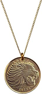 """Worn History Mens Authentic Ethiopian Roaring Lion Coin Necklace (22"""")"""