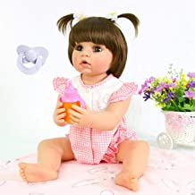 PURSUEBABY Doll Washable Full Body Reborn Toddler Girl Doll Opened Mouth Abby, 22 Inch Adorable Real Life Baby Dolls with Plugin Pacifier Toy Gift Set (Pink Clothes)