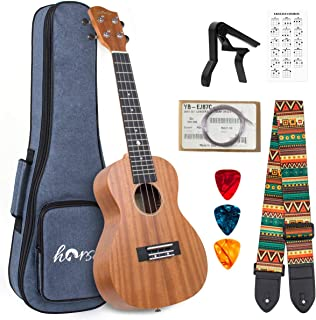 Ukulele Mahogany Ukelele Ukele for Professional Player Beginners Uke Starter Kit with Carring Gig Bag Strap Strings Capo P...