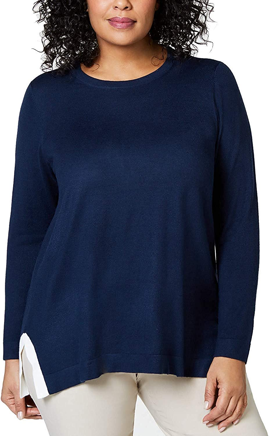 Charter Club Women's Plus Size Contrast Trim Long Sleeve Pullover Sweater