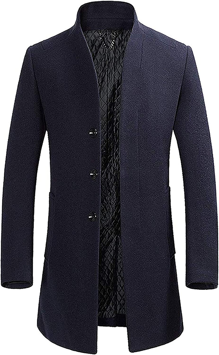 Hoolep Men's Lapel/French Front Thicken Button Front Mid-Long Wool Blend Walker Coat