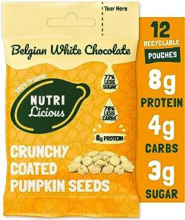 Nutrilicious Semillas de Calabaza de Chocolate Blanco - Keto, Ricas en Proteínas Bajos en Carbohidratos, Menos Azúcar, Ricas en Fibras, Sin Edulcorante (12 x 30g)