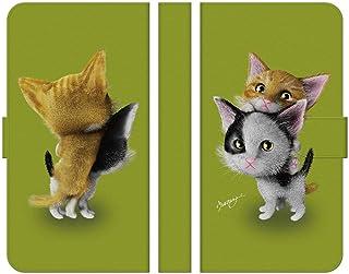 ブレインズ HUAWEI P20 Pro HW-01K 手帳型 ケース カバー 子猫 グリーン ウエダマサノブ
