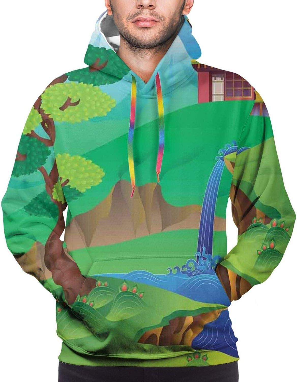 TENJONE Men's Hoodies Sweatshirts,Cartoon Style Chinese Landscape with Tree Waterfall Mountains and House Green Field