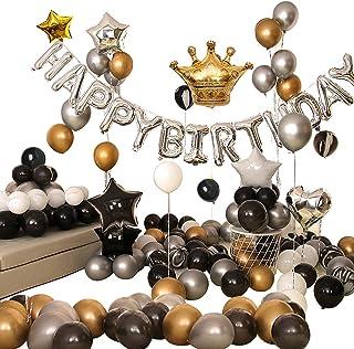 Ponmoo Decoration Anniversaire Ballon Noir et Or pour Gargon Femme Homme 99pcs Ballons Anniversaire Happy Birthday Party, ...