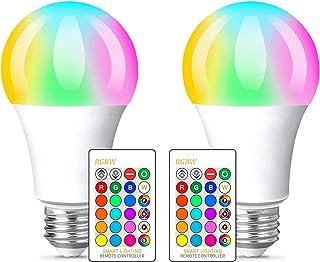 Bombilla LED Colores, RGBW Bombilla LED E27 10W con Control Remoto, Función de Temporización y Memoria, 12 RGB Colores, Luz Ambiente Regulable para Hogar, Decoración, Bar, Fiesta, KTV (2 Pack)