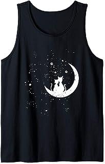 Chats regardant les étoiles motif romantique chat galaxie Débardeur