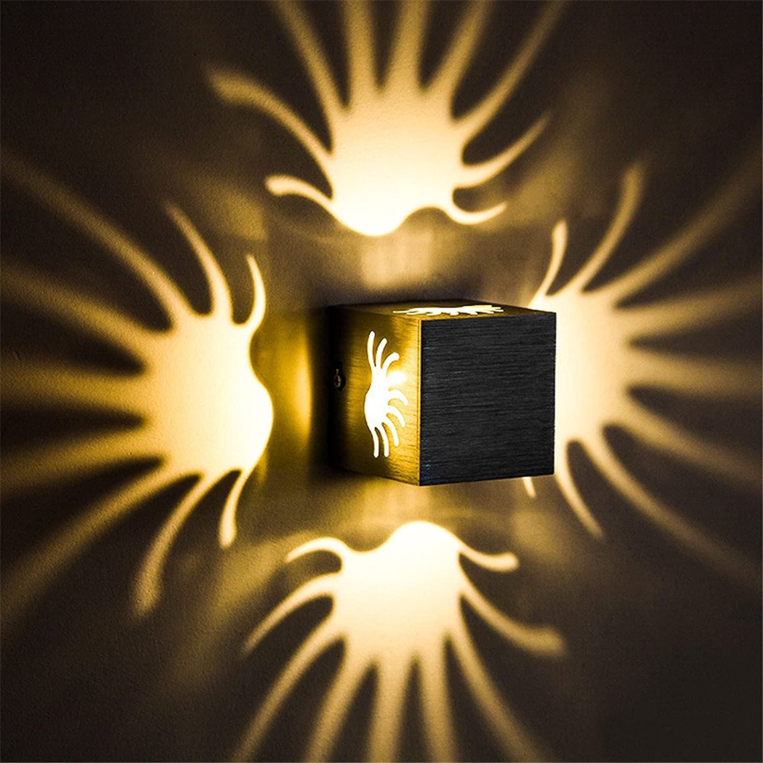 Amadoierly Wand LED Edelstahl Hotel Modern Creative Square Multi-Farbe Energieeinsparung   80 X 80 X 80 mm, Gelb