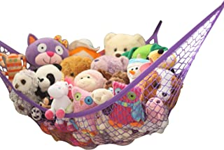MiniOwls Toy Hammock Organizer for Stuffed Animals Perfect Storage Idea for Teddies and Dolls. Simple but Strong Solution to Display Children's Plushies (Purple, Large)