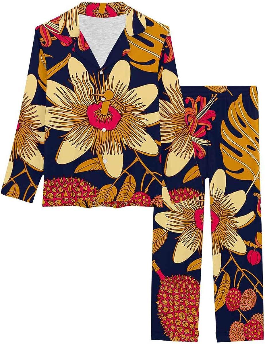 InterestPrint Long Sleeve Nightwear Button Down Loungewear for Women Bright Tropical Flowers and Fruits