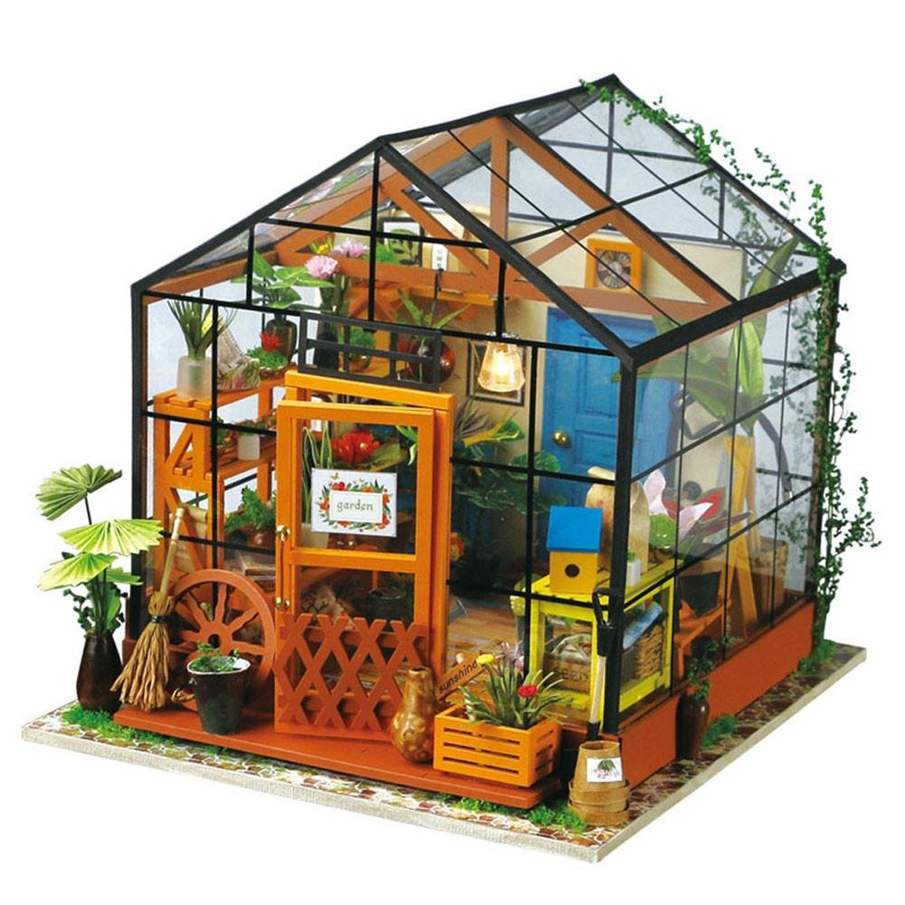 Casa De Muñecas Invernadero Modelado Bricolaje Conjunto Jardín Casa De Madera Bolsa De Herramientas Artesanales Invernadero Muñeca Casa Juguete Decoración Adecuada Para Niñas Y Niños: Amazon.es: Hogar