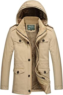 FGYYG Mens Winter Thicker Hooded Cotton Jacket Middle Length Leisure Outdoors Removable Hood Cashmere Parka Coat