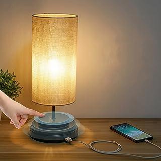 Kohree Lampe de chevet Touch Control Dimmable avec USB Ports Table Lampe de Chevet Chambre Moderne pabat-jour en tissu lam...