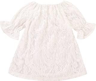 Treafor 婴幼儿女孩蕾丝花纹白色连衣裙铃状袖派对连衣裙