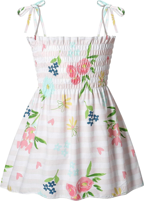 DCUTERQ Toddler Superior Baby Girls Summer Print Dres Floral Memphis Mall Strap Ruffle