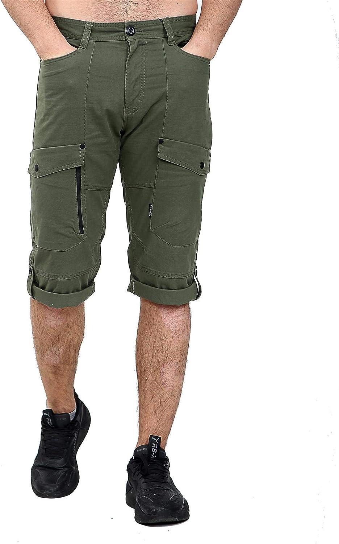 shelikes Mens Cotton Cargo Shorts Three Quarters Turn Up Belted Zip Pockets UK Size