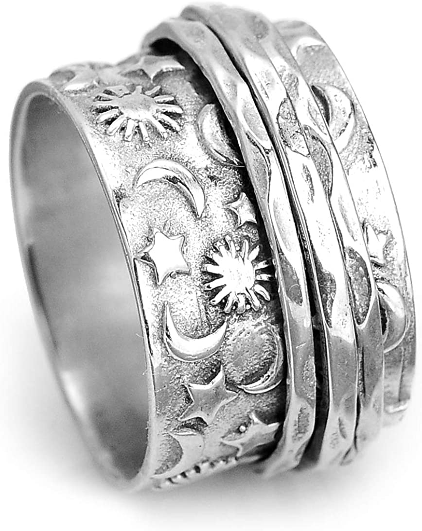 Boho-Magic 925 Sterling Max 68% OFF Silver Spinner Sun and Moon Ring for Wom High quality
