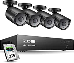 ZOSI Ultra HD 4K Outdoor Security Camera System, 8 Channel H.265+ CCTV DVR with 4 x 4K..