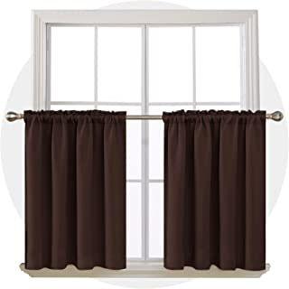 Deconovo Brown Window Tiers Thermal Insulated Rod Pocket Room Darkening Curtain Panels for Small Window 42W x 36L Inch 2 Panels