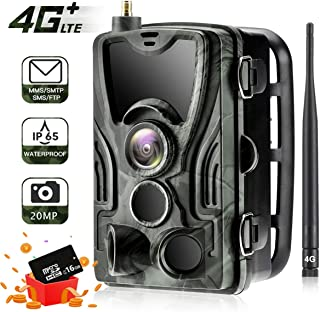 SUNTEKCAM LTE 4G Cellular Trail Cameras 20MP 1080 HP Wireless Camera for Wildlife Monitoring with 120°Detecting Range Motion Activated Night Vision Waterproof - 16GB SD Card and Card Reader