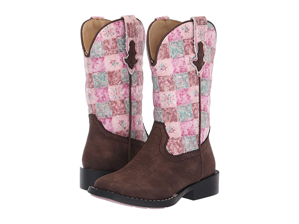 Roper Kids Floral Shine (Toddler/Little Kid) (Brown Faux Leather Vamp/Pink/Turquoise) Cowboy Boots