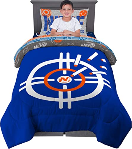 Franco Kids Bedding Super Soft Comforter and Sheet Set, 4 Piece Twin Size, Hasbro Nerf