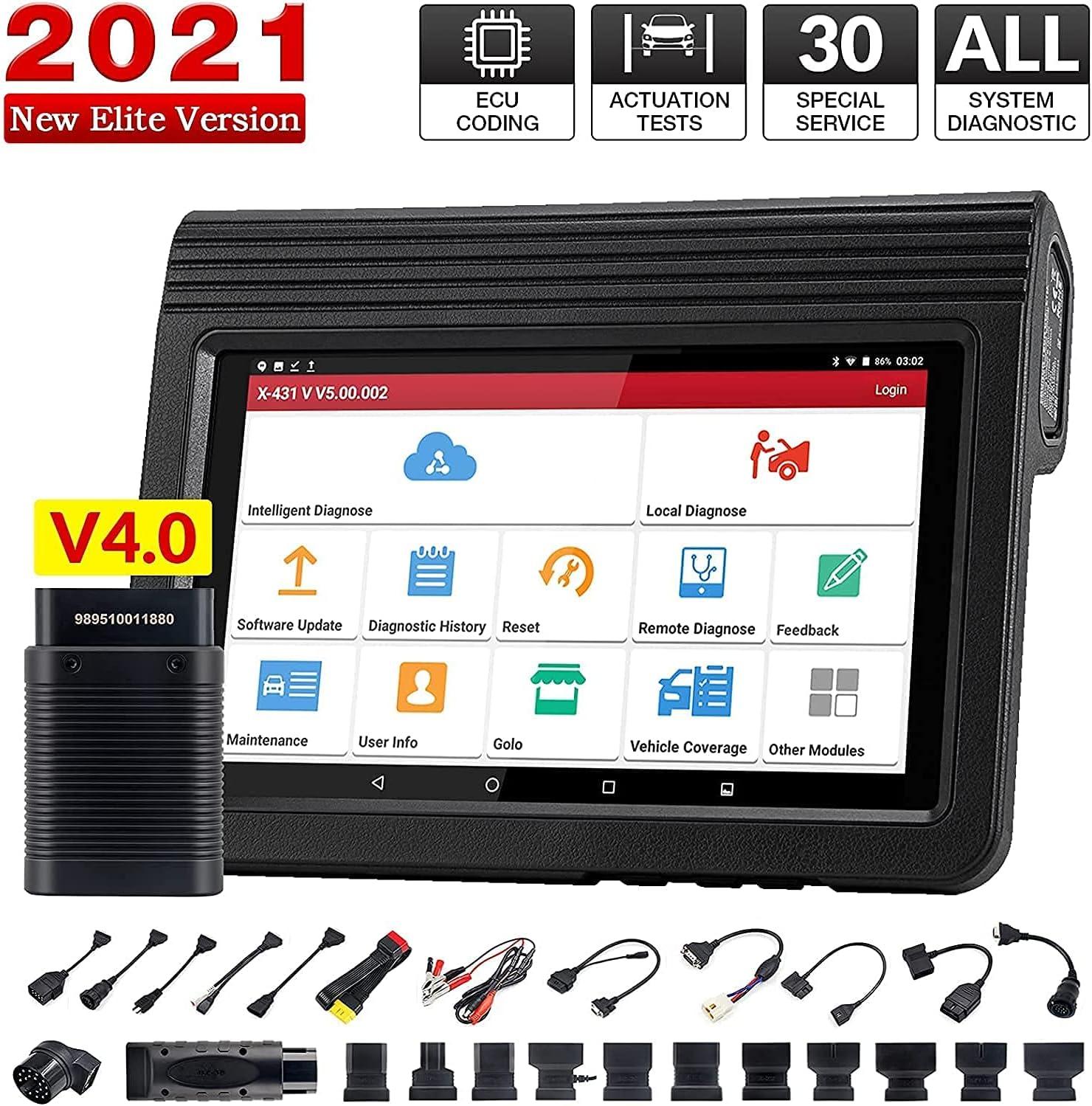 LAUNCH X431 V 4.0 Máquina Profesional Diagnosis Coche multimarca OBD2 Escáner Bluetooth de Sistema Completo, codificación ECU, Prueba Activa, Servicio 30+ Reset, Actualización WiFi ,Auto Vin