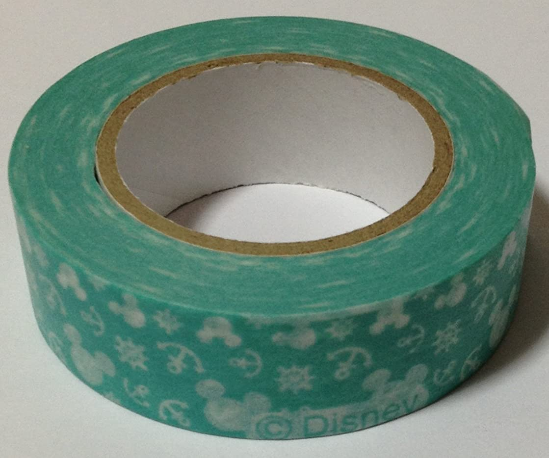 Mickey Mouse Washi Japanese Paper Masking Tape Length12 m Width1.5 cm Sticker Decoration Arts, Crafts & Sewing Stationery Japan (Marine (Light Green/White))