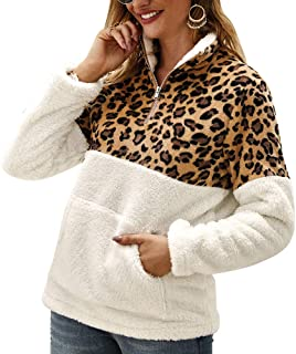 ETCCY Women's Leopard Print Fluffy Sherpa Fleece Sweatshirts Zipper Pullover Outwear with Pockets