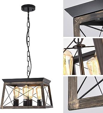 LIANSHUN 4-Lights Farmhouse Kitchen Island Lighting, Rustic Square Chandelier, Antique Industrial Metal Pendant Light Fixture