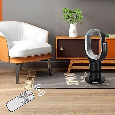 HealSmart Medium size portable bladeless fan, small table fan, 10 speeds settings, 10-hour timing closure bladeless fan, styl