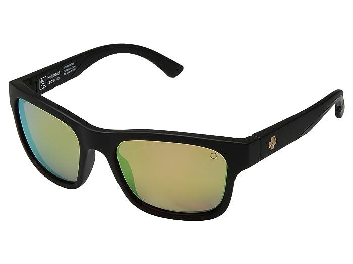 Spy Optic Hunt (Matte Black/Cork E-Jack/Happy Rose Polar/Green Gold Spectra) Athletic Performance Sport Sunglasses