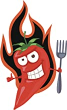 Silly Smiling Red Hot Pepper Devil with Fork Cartoon Vinyl Decal Sticker (4