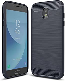 Galaxy J7 2018/J7 Crown /J7 Aero/J7 Aura/J7 Top/J7 Eon/J7 Star/ J7 Refine, Yuanming [Slim Thin] Carbon Fiber Soft TPU Brushed Texture Phone case Full-Body Protective Cover for Samsung J7 2018 (Blue)